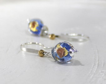 Blue Earrings, Silver Gold Earrings, Murano Glass Earrings, Sterling Silver Earrings, Sky Blue Earrings, Venetian Glass - Our Little Blue