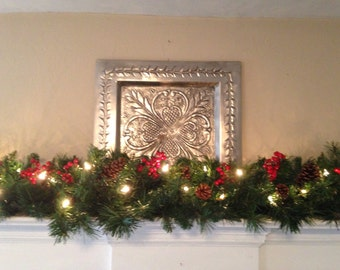 Beau Mantle Garland, Christmas Garland, Red Berries, Pine Cones, Staircase  Garland, Mantel Garland, Fireplace Swag, White Lights