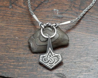 Silver Inlaid Iron Viking Thor's Hammer on a Silver Hand Made Chain