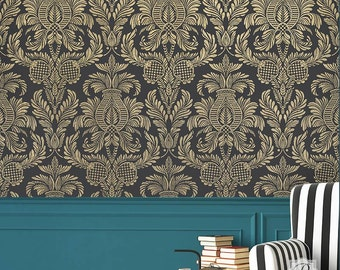Large Wall Stencil - Vintage Damask Wallpaper Design - Romantic Classic European Style Wall Pattern