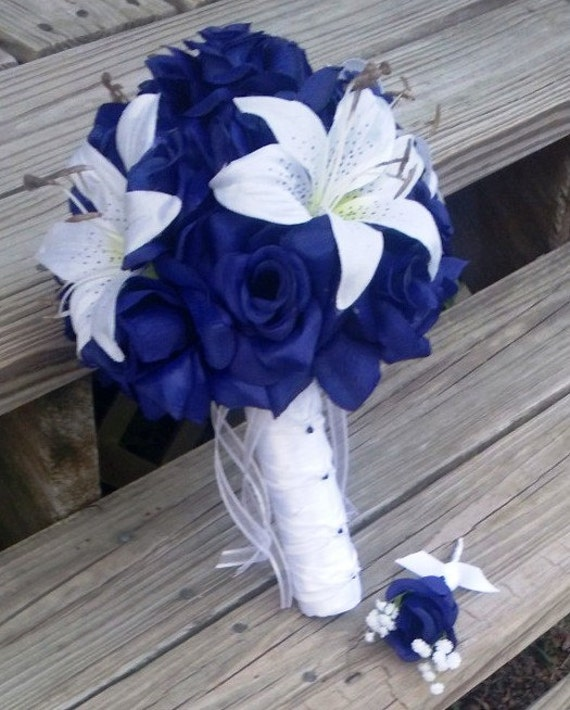 Royal Blue Rose White Lily Wedding Bouquet with Boutonniere