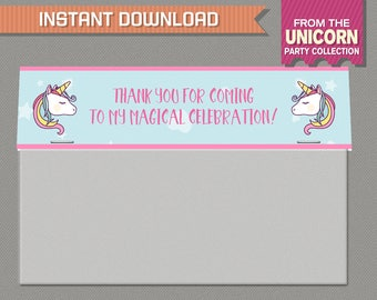 Unicorn Party Wide Treat Bag Toppers - Unicorn Treat Bag Labels - Unicorn Party - Editable PDF file - Print at home with Adobe Reader
