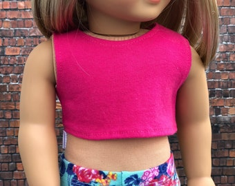 Bright Pink CROP TANK TOP for 18 Inch Doll modern