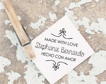 Made by Stamp, Handmade Rubber Stamp, Made with Love Self Inking Stamp, Custom Spanish Stamp, Handmade Stamp, Made with Love Stamp,  10108