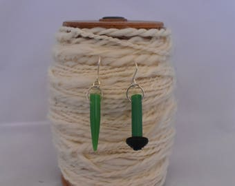 Green and black vintage Knitting needle earrings, quirky earrings handmade from vintage knitting needles