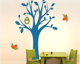 Tree Wall Decal Wall Sticker tree decal - Bird-land Tree with Birds - Room Decals For Kids - TRBL020L