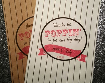 P2, Thanks for poppin' in, Popcorn Bag, Wedding Candy Bag, Candy Buffet, Candy Favor Bags, Treat Bags, Kraft Bags, Personalized bag