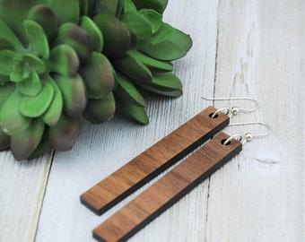Wood Earrings - Wooden Bar Walnut Earrings