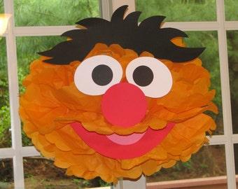 """Orange Monster tissue paper pompom kit, inspired by """"Ernie"""" from Sesame Street"""