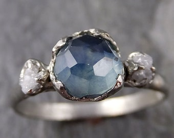 Partially faceted Montana Sapphire Diamond 14k White Gold Engagement Ring Wedding Ring Custom blue Gemstone Ring Multi stone Ring 1181