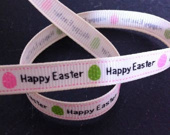 Happy Easter Ribbon with a Green and Pink Egg Print