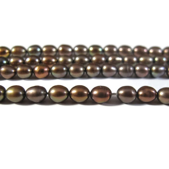 Brown Freshwater Pearls, 16 Inch Strand of 80 Antique Bronze Pearl Beads for Making Jewelry, 5mm x 4mm Genuine Pearls (P-R8)