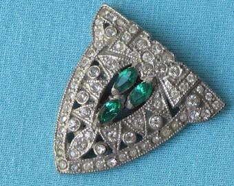 Dress Clip Art Deco Clear & Emerald Green Rhinestones Vintage c.1920s Dainty Small Size