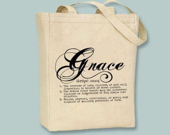 Grace Definition Typography Illustration Canvas Tote -- Selection of sizes available, print in ANY COLOR