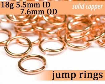 18g 5.5 mm ID 7.6 mm OD copper jump rings -- 18g5.50 open jumprings links