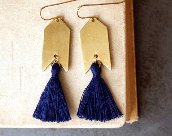 Navy Blue Tassel Earrings, Dark Blue and Gold, Natural Brass Tassel Earrings, Arrowhead, Arrow Earrings