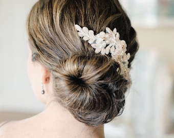 Blush Bridal Hair Comb. Blush Lace Hair Comb. Bridal Lace Headpiece {Alyona}