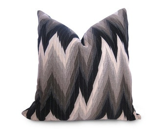Flamestitch Decorative Pillow Cover - Black - Gray - Silver - Ivory - Chevron Pillow - Throw Pillow - Designer Fabric - Designer Pillow