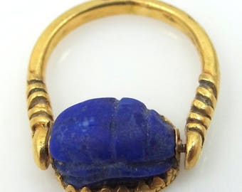 Antique 18k Gold Carved Lapis Lazuli Scarab Flip Ring Seal Handmade with Serpent