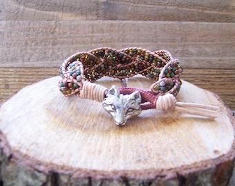 Rustic Fox Beaded Braided Leather Wrap Cuff Bracelet, Beaded Leather Cuff, Fox Bracelet, Fox Jewelry, Leather Jewelry, Rustic Cuff