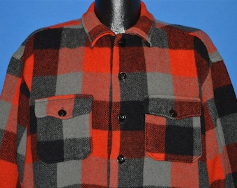 50s Melton Button Down Plaid Wool Hunting shirt Extra Large