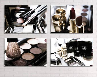 Chanel Makeup Bathroom wall decor/set of 4 prints/makeup decor large canvas art/bathroom art/Chanel decor/mom boho gift