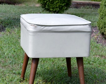 Mid Century Sewing Chair Stool Beige Vintage Vanity Seat with Storage Modern Home Decor PanchosPorch