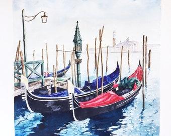 "ORIGINAL watercolor painting ""Gondola Docks"" Venice Italy Romantic Canal"