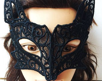 Black Wolf  Embroidered Lace Mask