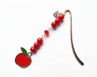 Teacher bookmark, teacher gift, thank you teacher, teacher appreciation, gift for teacher, bookmark for teacher, apple bookmark, apple gift