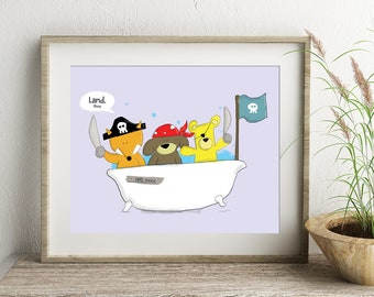 Pirate Print ,Pirate Wall Art, Bathroom Art, Nursery Print, bedroom prints, Pirate gift, boat print themed gift, fun bedroom art