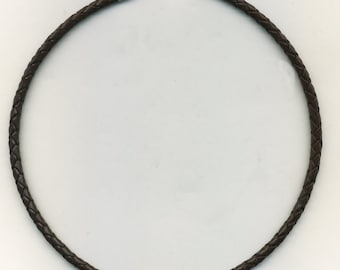 Braided Leather Cord Necklace (Choker) 5 mm-your choice of size Brown