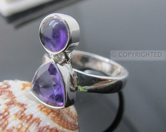 Amethyst Ring, 925 Sterling Silver Ring, Gemstone Rings, Crystal Rings, Healing Rings