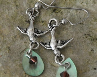 Bird and Gem Earrings