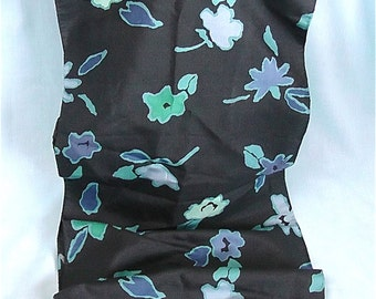 Vintage Black and Blue Thai Silk Scarf