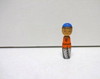 2in Vintage Japanese Miniature Wood KOKESHI Doll