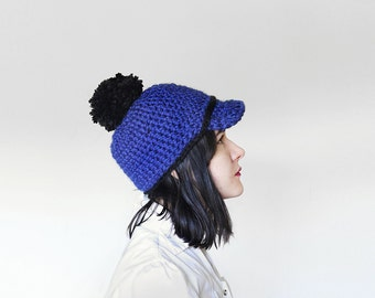 Crochet Baseball Cap for Women with Pom Pom - Chunky Crocheted Pom Pom Cap - Hat in Royal Blue & Black   The Ceres Cap  