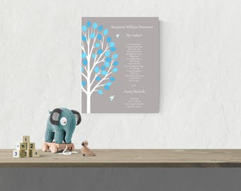Christening Tree Wall Art | Boy Baptism Gift | Unique Christening Gift | Baptism Gift For Boys - 47877