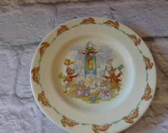 Vintage Royal Doulton Bunnykins Rabbit Plate 1968 to 1975 Backstamp, Rabbits and Space Rocket, Vintage Collectible, Baby Nursery
