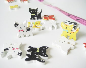 10 pcs of Kitten Wood Button - 2 Hole cute cat kitty doll colourful kawaii fun Sew knit crochet scrapbook embellishment craft diy creative