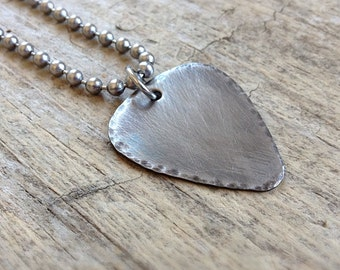 Men's Rustic Guitar Pick Necklace, Stainless Steel Jewelry, Gift For Him, Dad Gift, Groomsmen Gift, Musician Necklace, Father's Day