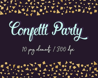 Gold Confetti Clipart, Gold Foil Digital Confetti Borders, Gold Confetti Scraps, Confetti Stars, Confetti Triangles, PNG Files, BUY5FOR8