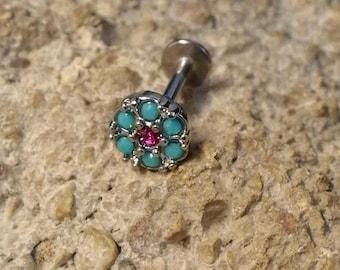 Turquoise & Pink Crystal Cluster Labret Stud - 1.2mm Gauge - suitable for lip, tragus, helix etc - UK Seller