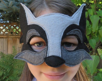 Black Wolf Mask -  Wolf Costume - Costume Accessory - Dog Mask - Woodland Animal