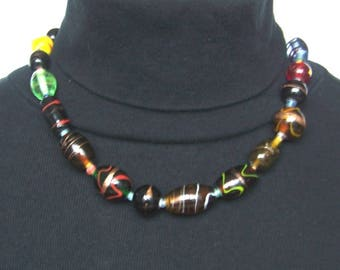 Vintage Lampwork Art Glass Wrapped Bead Necklace