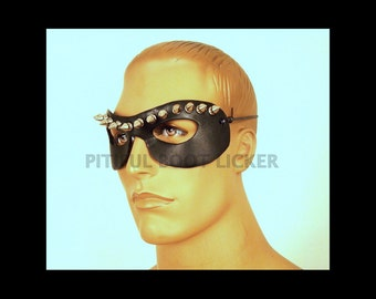 LEATHER MASK Spikes Black Leather Mask  Masquerade Mardi Gras Punk Cosplay Very Comfortable