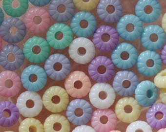 set of 10 pastel donuts flower beads