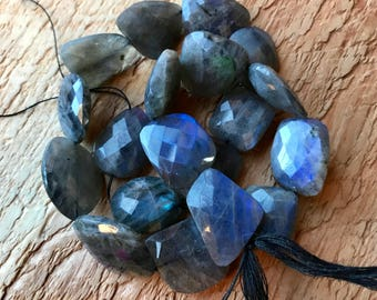 AAA Labradorite 1 bead faceted Nuggets - every bead with flash
