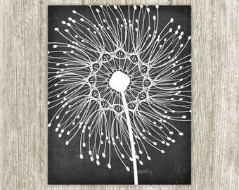 Dandelion Printable, Chalkboard Wall Decor, Dandelion Art Poster, Home Decor, Dandelion Print, Dandelion Wall Art 16x20 Instant Download
