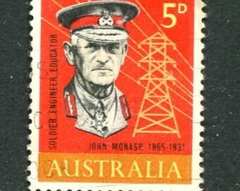 General Sir John Monash Vintage 1960's Used Australian Stamps/Bulk Stamps
